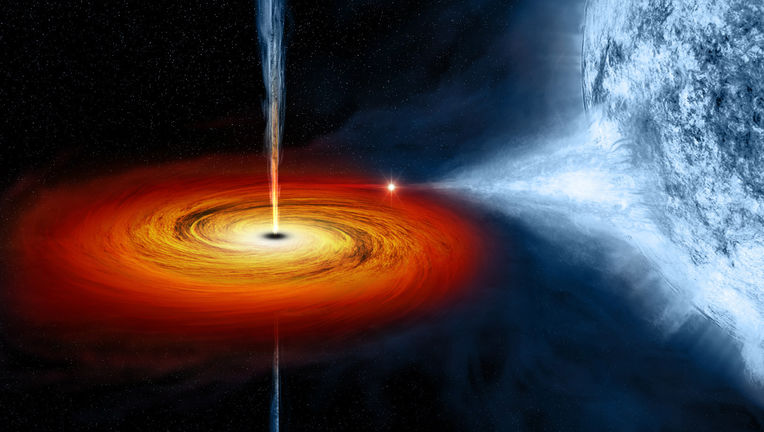 Artwork depicting a black hole drawing material off its massive blue stellar companion. Credit: NASA/CXC/M.Weiss