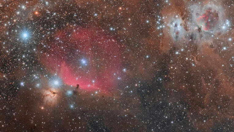 A spectacular wide-field shot of Orion's Belt, featuring the Horsehead, Flame, and Orion Nebula (and lots of other stuff too). Credit: Derek Demeter