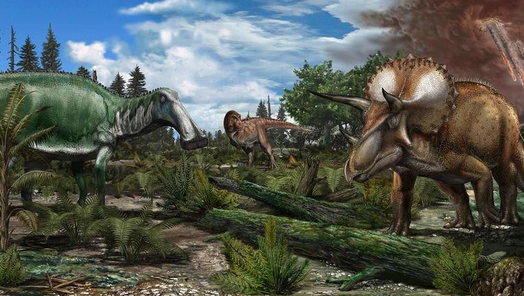 Artwork depicting the last day of the Cretaceous Period. Credit: Davide Bonadonna via Imperial College London