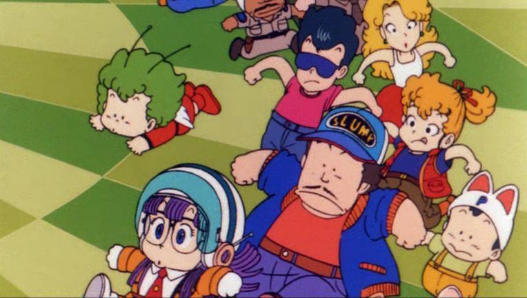 Arale and several minor Dr. Slump characters, such as Dr. Slump, run around on a strange checkerboard purgatory