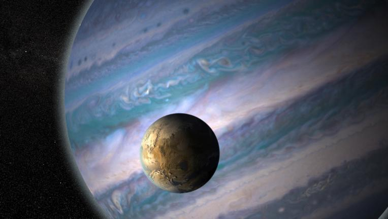 Artwork depicting a habitable exomoon orbiting a gas giant around another star. Credit: NASA / GSFC / Jay Friedlander and Britt Griswold