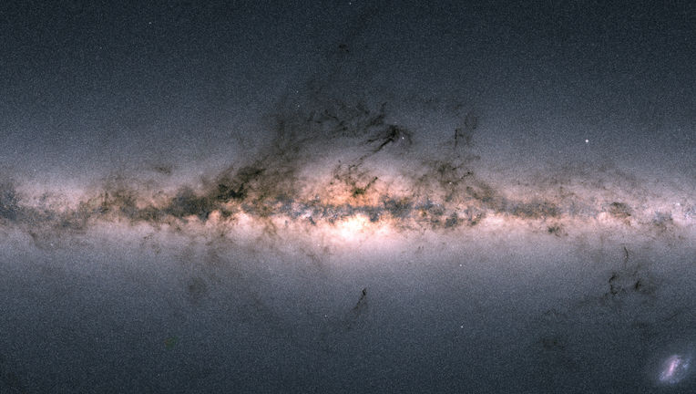 A section of the all-sky map made using the second data release from the Gaia mission. This maps the density of stars versus position, where brighter pixels are places with more stars. Credit: ESA/Gaia/DPAC