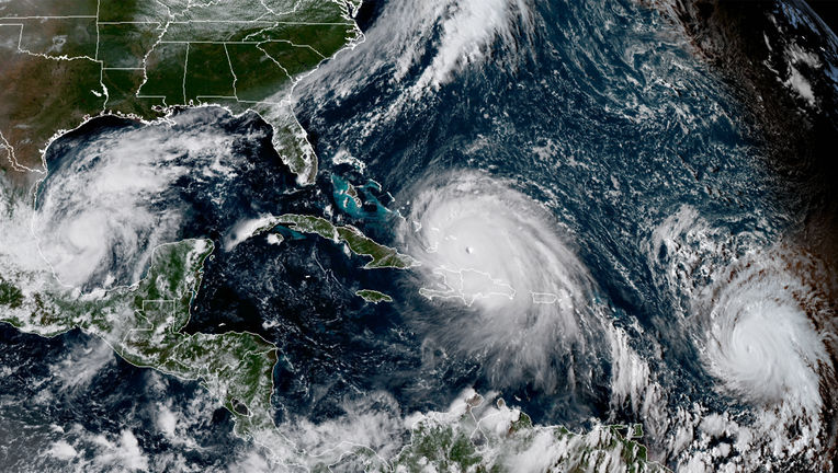 Three hurricanes are visible at the same time from the GOES-16 satellite on September 7, 2016 at 20:00 UTC: Katia (left), Irma (middle), and Jose (right). Credit: CIRA/RAMMB & NOAA