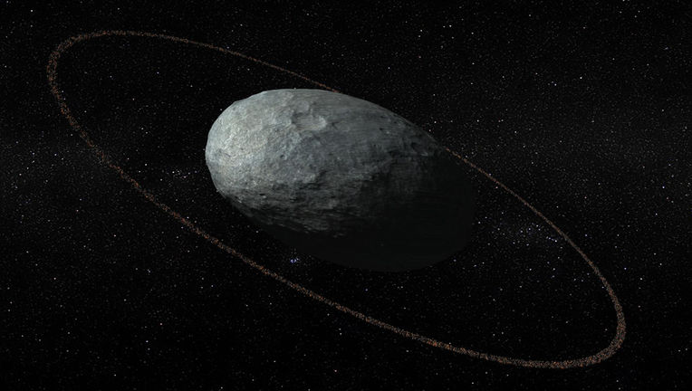 Artwork depicting Haumea with its ring; the proportions shown are correct. Credit: Insituto de Astrofísica de Andalucía