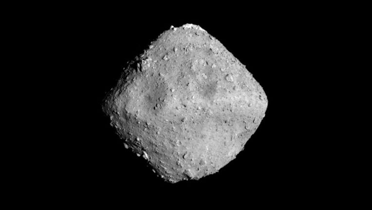The small (<1 km wide) asteroid Ryugu, seen by the Hayabusa 2spacecraft when they were separated by 40 km. Credit: JAXA