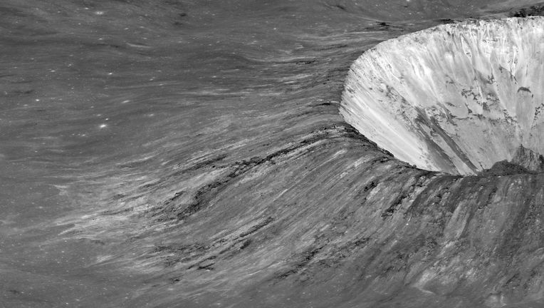 Pierazzo crater, an impact side on the lunar far side, just over the edge of the Moon as seen from Earth. Credit:NASA/GSFC/Arizona State University