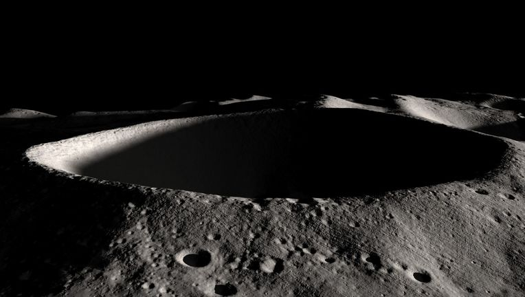 Shackleton crater, at the Moon's south pole, has a floor that never sees sunlight. This is an excellent place to look for water ice. Credit: NASA/Goddard Space Flight Center Scientific Visualization Studio