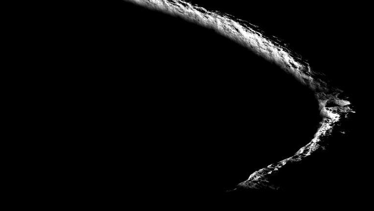 The rim of Shackleton crater, on the Moon's south pole. Credit: NASA/GSFC/Arizona State University