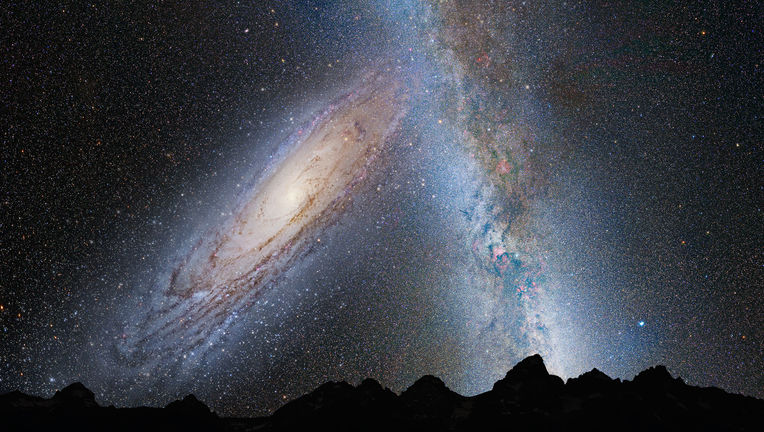 Illustration of a cosmic train wreck: The Milky Way/Andromeda galaxy collision, four billion years from now. Credit: NASA, ESA, Z. Levay and R. van der Marel (STScI), T. Hallas, and A. Mellinger