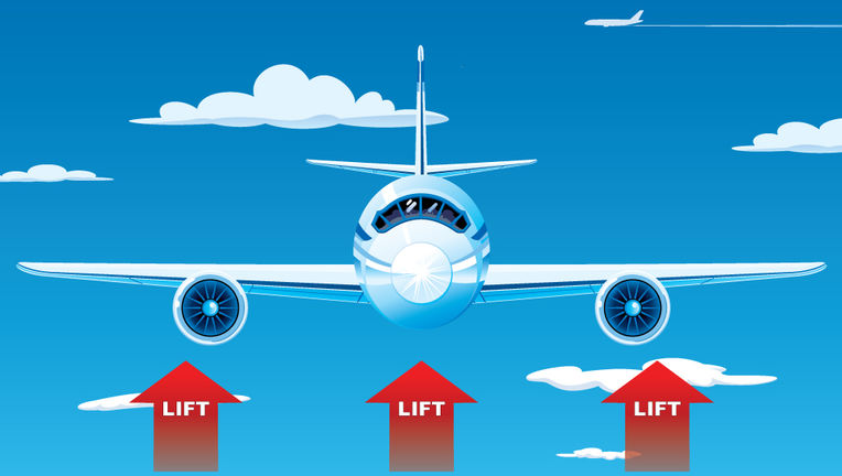 Lift is caused by red arrows pointing upwards. OK, actually it's a bit more complicated than that. Credit: NASA