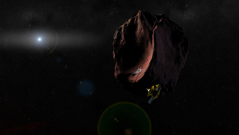 artwork of New Horizons and MU69