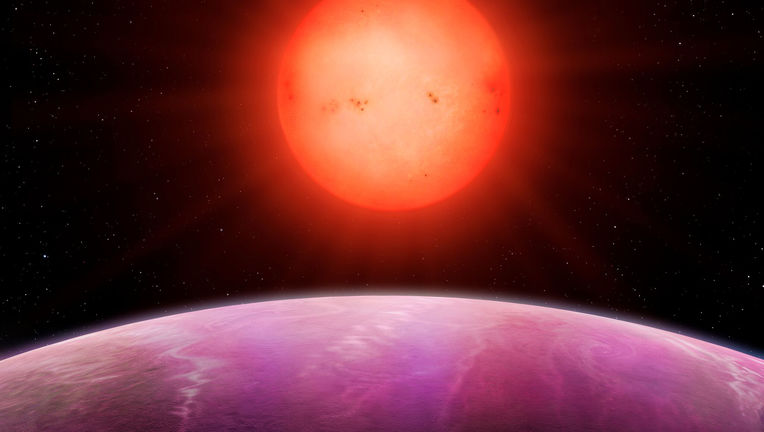 Artwork depicting NGTS-1b, a gas giant planet orbiting a red dwarf star. Credit: University of Warwick/Mark Garlick