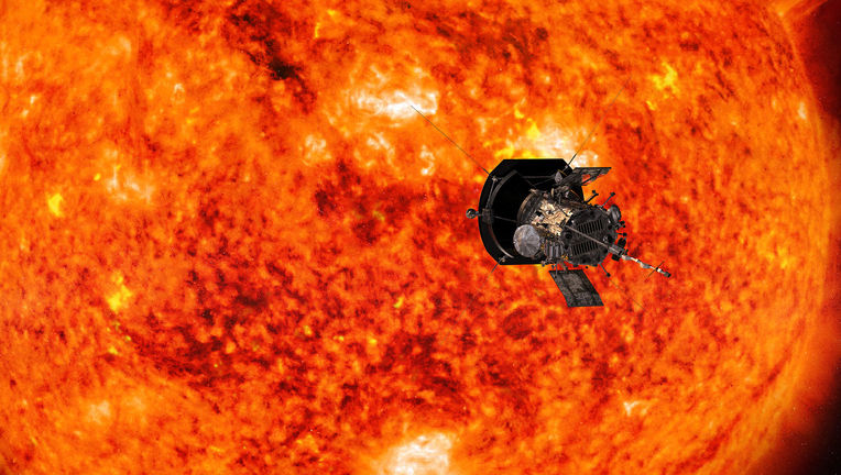 Artwork showing the Parker Solar Probe against the Sun. Credit: NASA/Johns Hopkins APL/Steve Gribben
