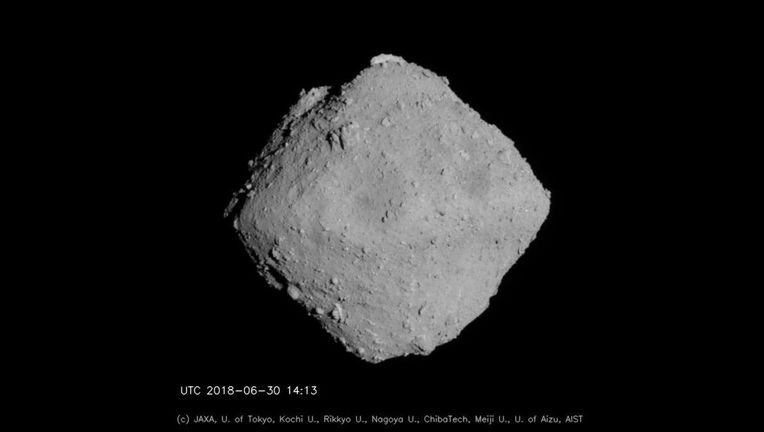 The asteroid Ryugu from 20 kilometers away. Credit: JAXA, University of Tokyo, Kochi University, Rikkyo University, Nagoya University, Chiba Institute of Technology, Meiji University, University of Aizu and AIST
