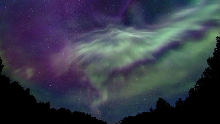The aurora over Minnesota, part of a time-lapse animation. Credit: Mark Ellis