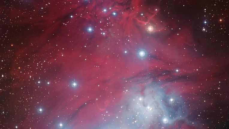 Part of NGC 2264, a cluster of young, hot stars that happens to make an outline of a Christmas tree as seen from Earth. Credit: ESO