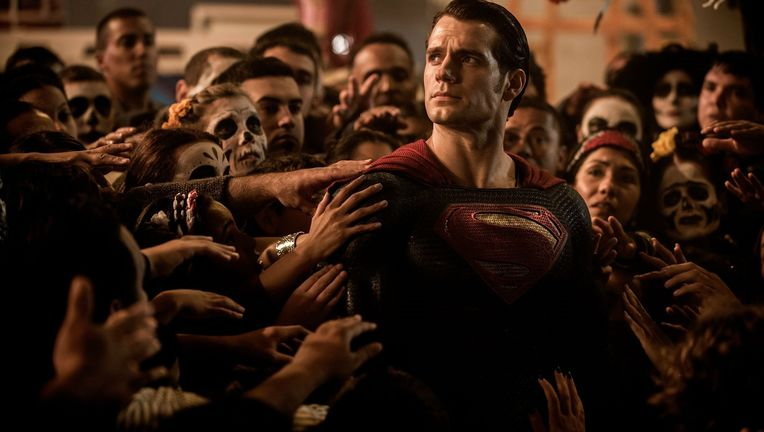 Superman looks concerned in a photo from Batman v Superman: Dawn of Justice