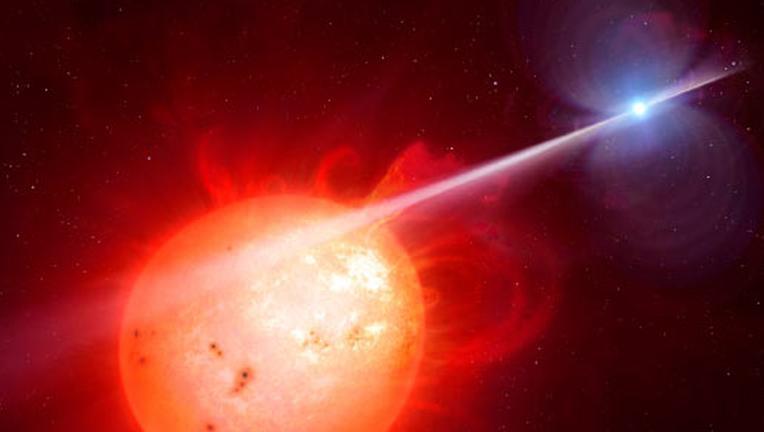 Rendering of AR Scorpii in the Scorpius galaxy.