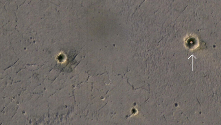 Opportunity landing site seen from orbit