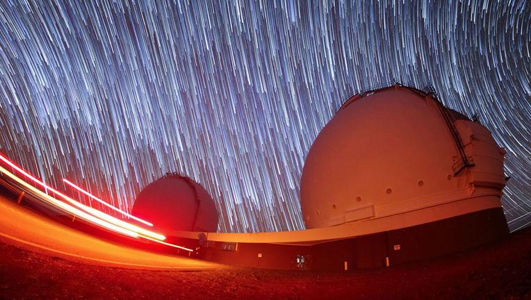 star trails over Mauna Kea