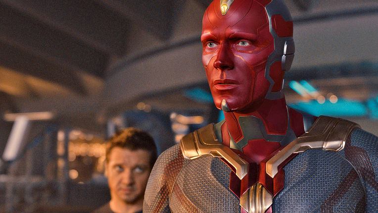 Avengers: Age of Ultron- Vision (Paul Bettany) and Hawkeye (Jeremy Renner)