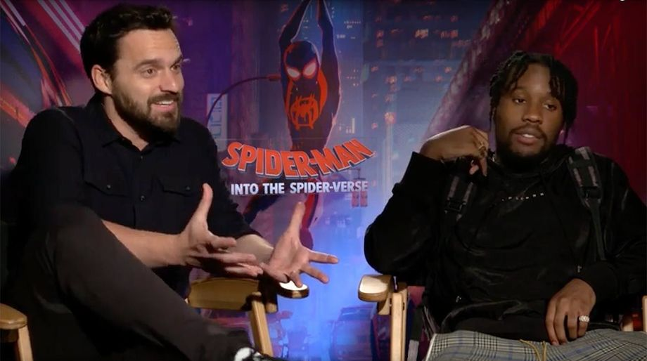 Spider-Man Into the Spider-Verse Jake Johnson and Shameik Moore hero