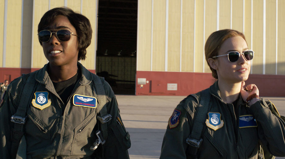 Lashana Lynch and Brie Larson in Captain Marvel