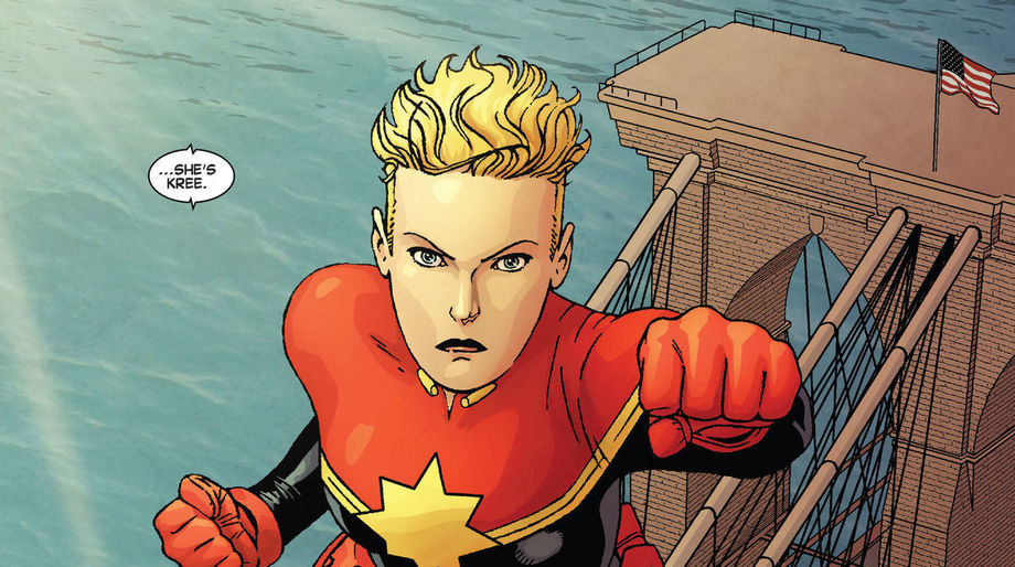 """Captain Marvel, """"She's Skrull."""""""