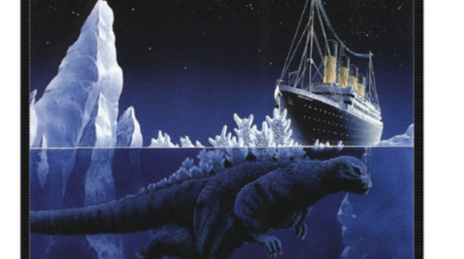 This Godzilla sinking the Titanic blanket