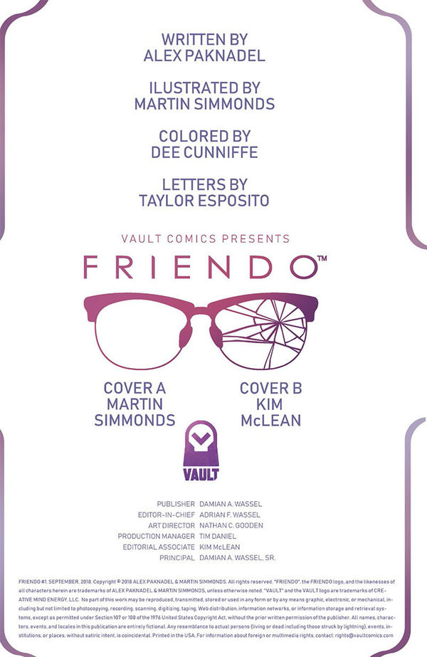 Friendo #1 Inside Cover
