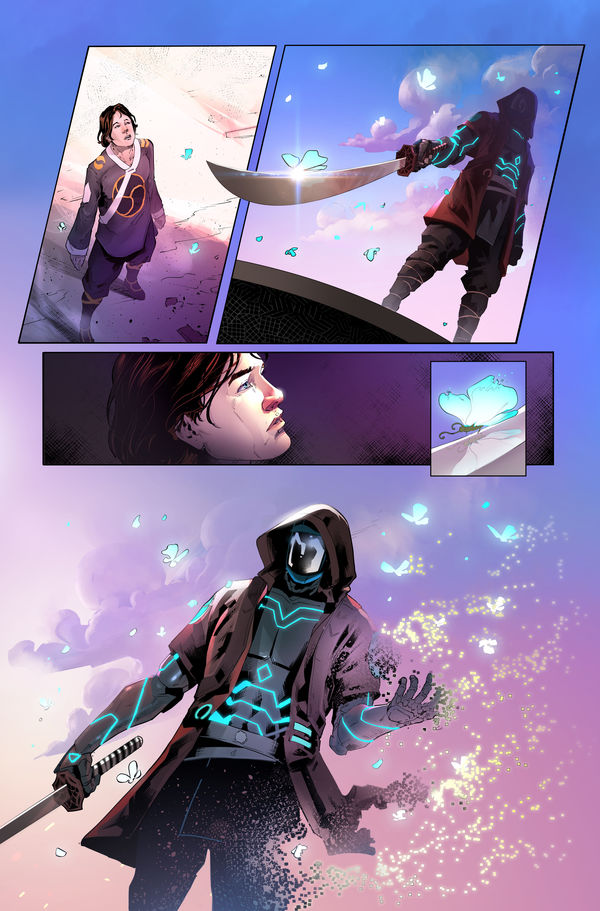 Neon Future Samurai with Sword
