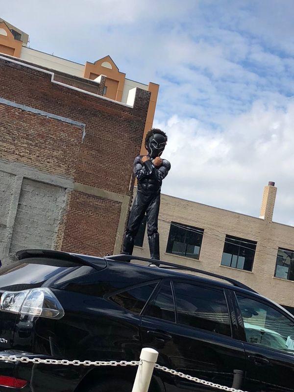 Young Black Panther Watching Parade