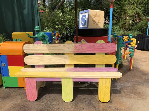 Toy Story Land popsicle sticks bench
