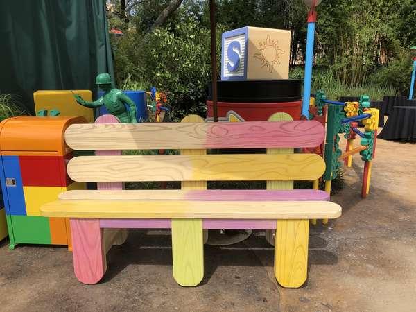 Toy Story Land popsicle sticks bench
