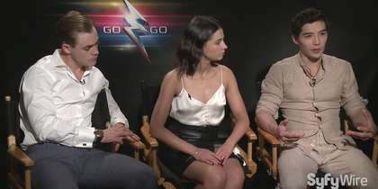 Power Rangers Black, Pink and Red Rangers Ludi Lin, Naomi Scott and Dacre Montgomery