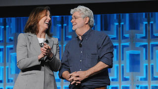Kathleen Kennedy and George Lucas
