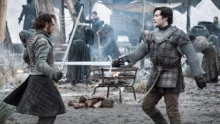 Podrick Payne hones his sword skills in Game of Thrones Season 8