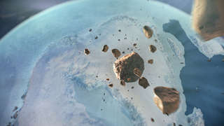 Incoming! Somewhat fanciful artwork depicting the asteroid responsible for the Hiawatha impact crater asteroid breaking up high above the Earth before slamming into Greenland. Credit: Natural History Museum of Denmark, Cryospheric Sciences Lab, NASA/GSFC