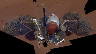 """A """"selfie"""" of the Mars InSight lander, using 11 images taken by a camera mounted on a mobile robotic arm. Credit: NASA/JPL-Caltech"""