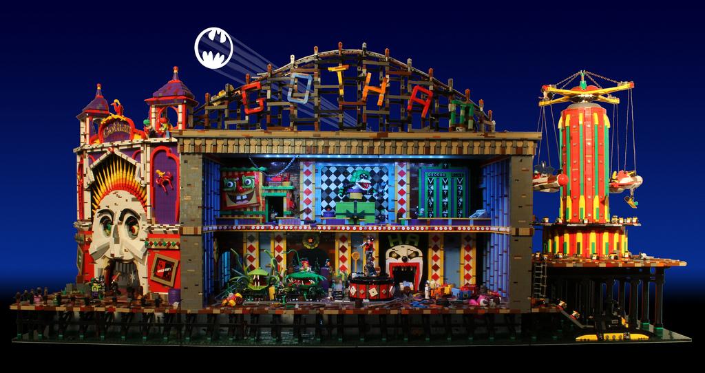guy builds epic lego joker funhouse then sets it all in. Black Bedroom Furniture Sets. Home Design Ideas