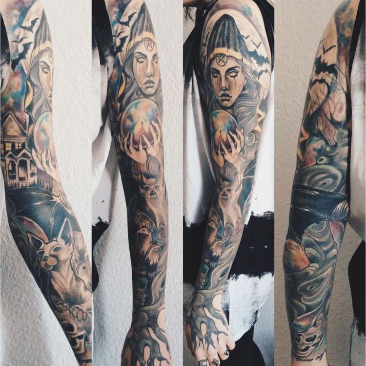 halloween tattoo witch