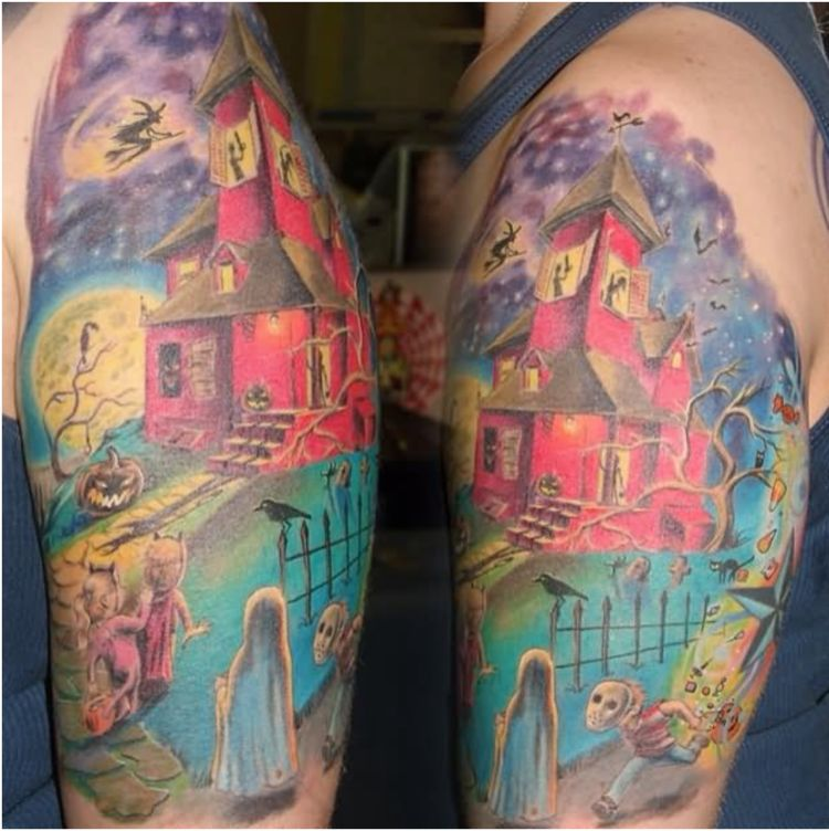 halloween tattoo haunted house