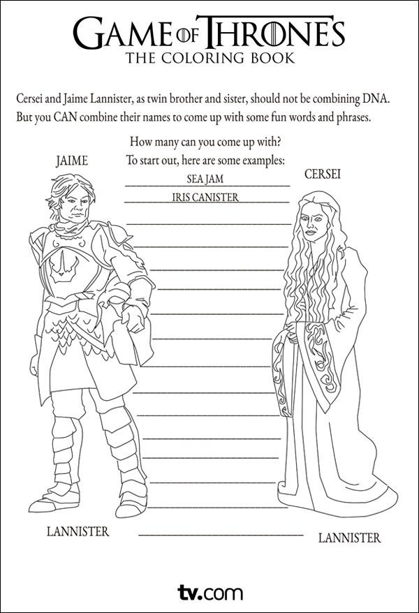 Hilarious Game Of Thrones Coloring Book Brings Winter To The Kids