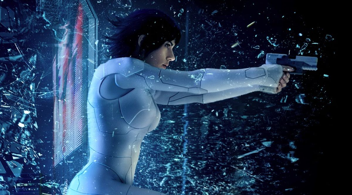 Scarlett Johansson crashes through two Ghost in the Shell IMAX posters