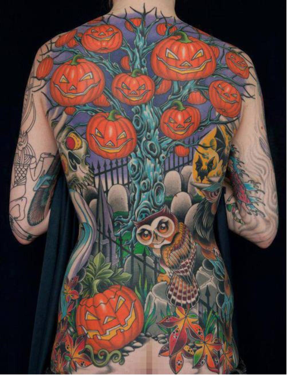 halloween tattoo pumpkin jack o lantern