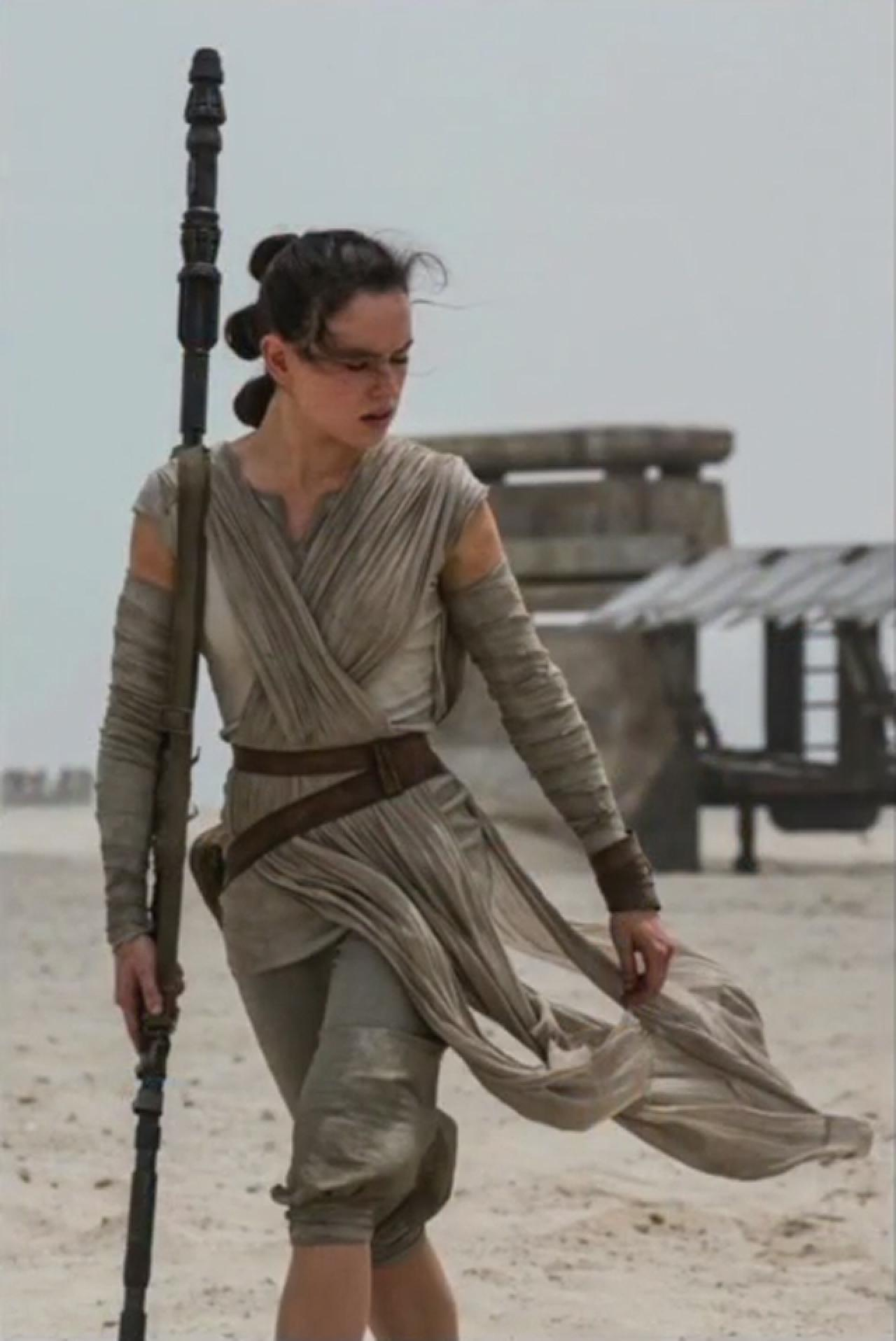 Rey carries a staff, and Daisy Ridley was reportedly trained in bojitsu for her fight scenes.