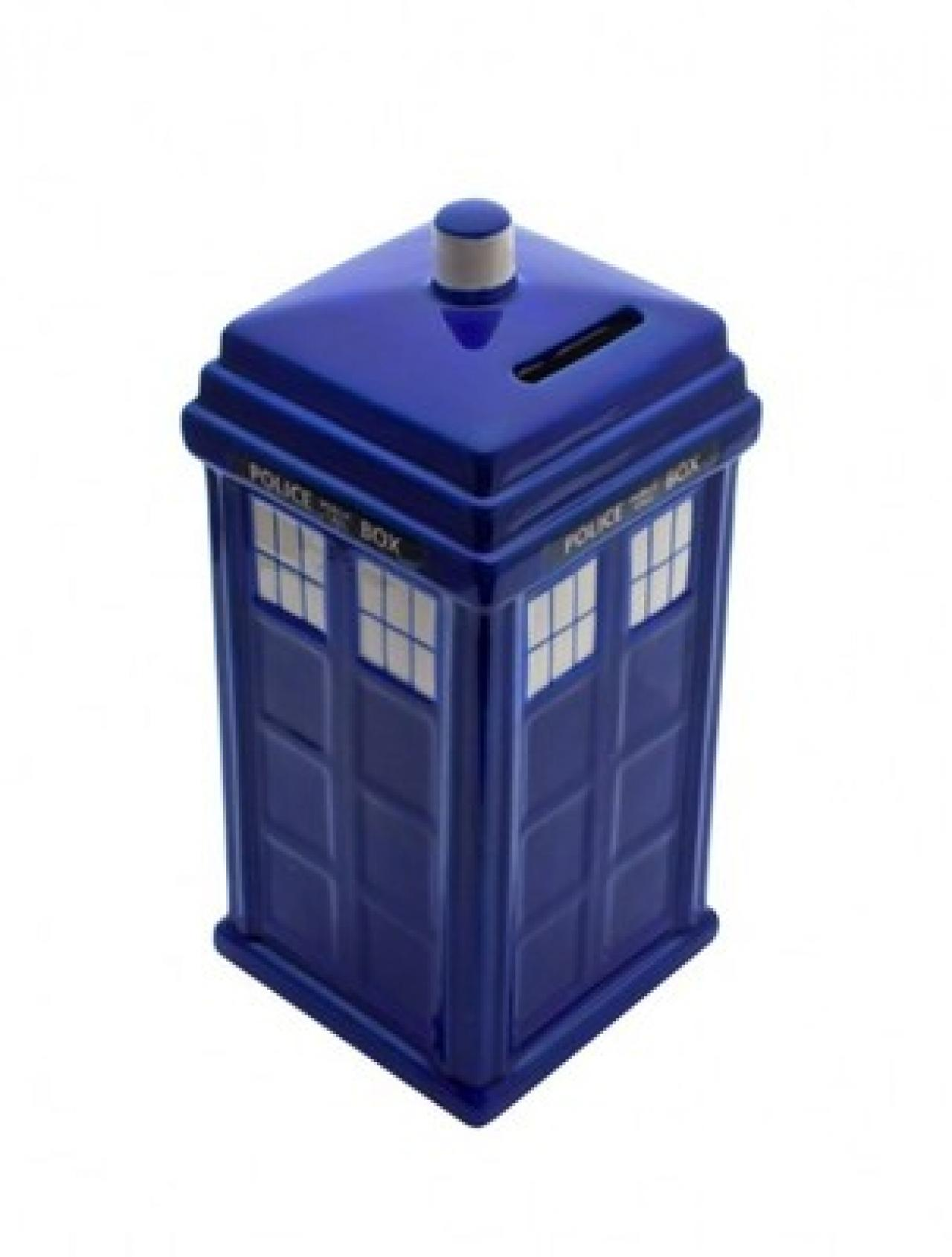 28 perfect doctor who gifts that look just like the tardis syfywire - Tardis piggy bank ...