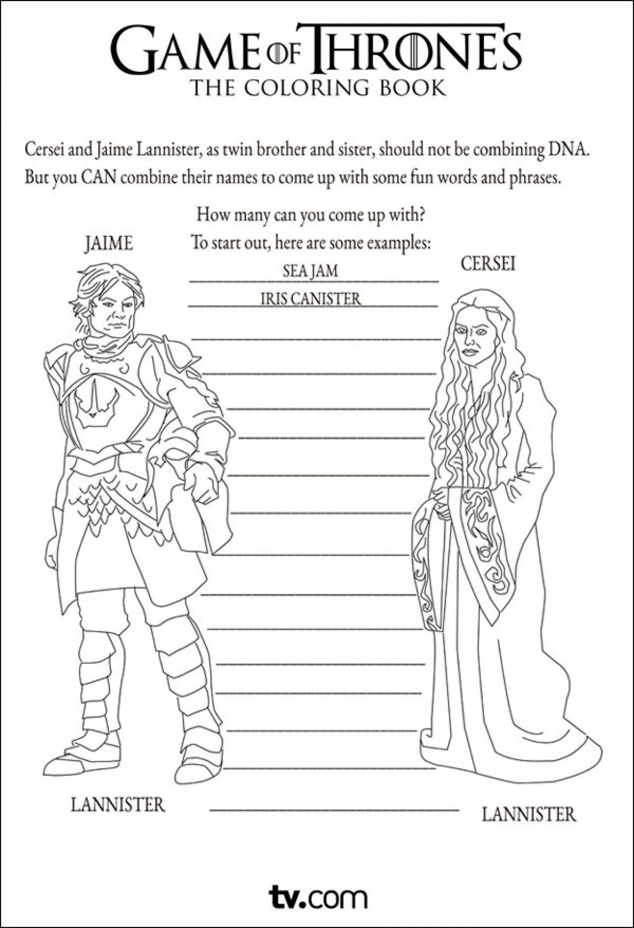 Hilarious Game Of Thrones Coloring Book Brings Winter To