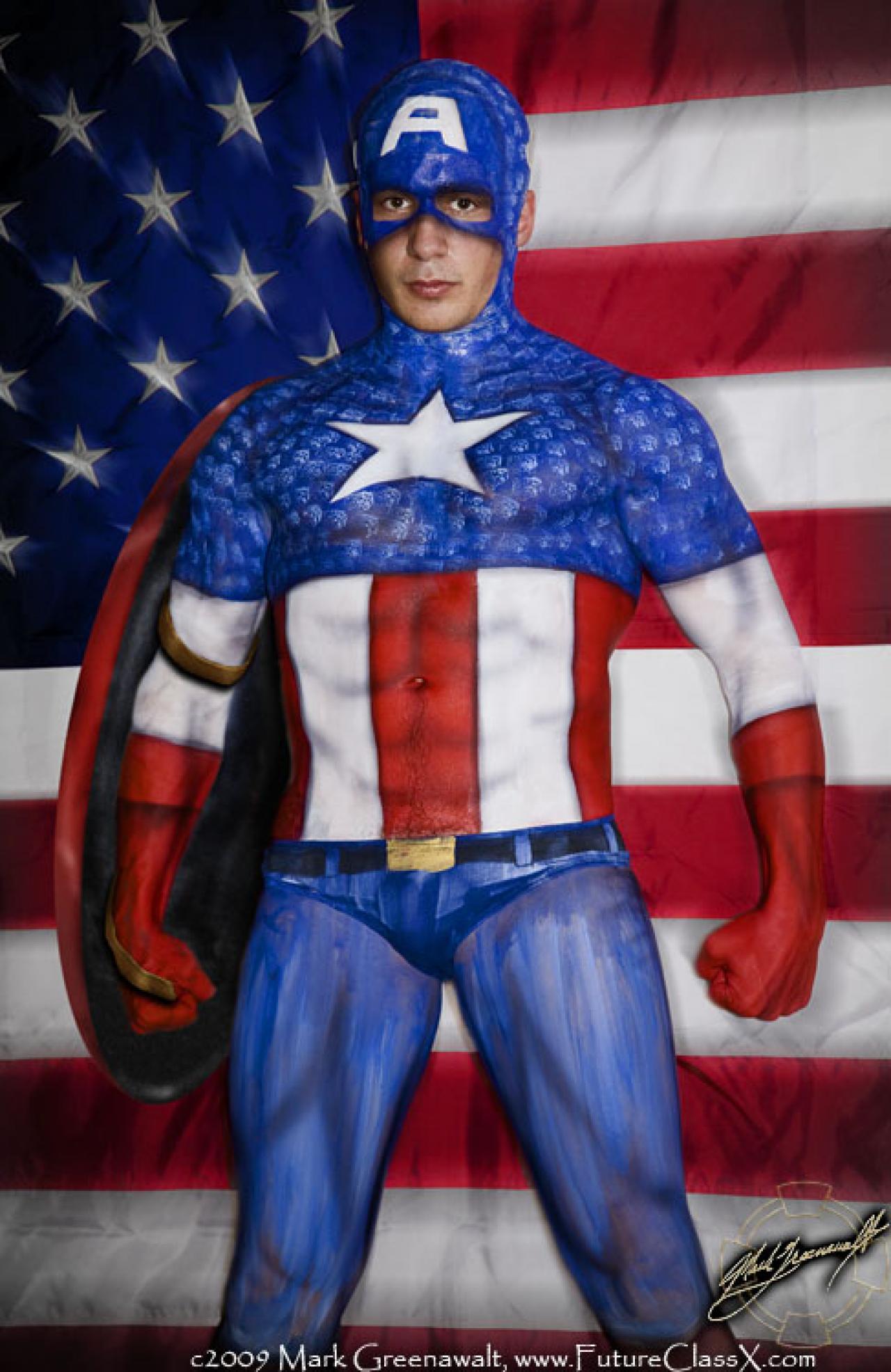 17 amazing bodypaint superhero costumes definitely nsfw for America s finest paint