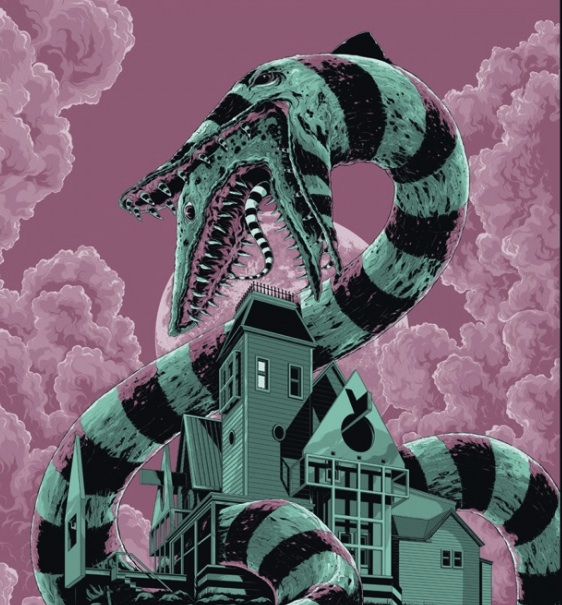 A Sandworm Chows Down In Mondo S Slithery New Beetlejuice Poster